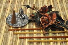Incense set. Ethnic incense set with cones and sticks stock images