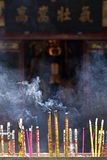 Incense with smoke in incense burner. At Guan Yu Shrine-China Stock Image