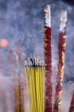 Incense with smoke in incense burner. At Shrine in China Royalty Free Stock Images