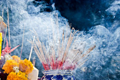Incense smoke. Incense to worship God and Incense to worship the Buddha, Incense smoke from incense many Stock Photo
