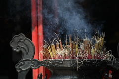 Incense smoke. Vietnam, Hanoi, a corner of Hoan Kiem Lake Royalty Free Stock Photos
