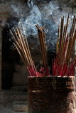 Incense. Smoking incense at a temple in Thailand Stock Photos