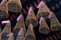 Incense Spirals hanging in the Thien Hau Temple of Cho Lon Chinatown, district 5, Saigon, Ho Chi Minh City, Vietnam. Close-up of several incense spirals with royalty free stock images