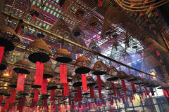 Incense spirals at Man Mo Temple, Hong Kong Royalty Free Stock Photography