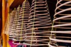 Incense spirals in Quan Am Pagoda, Saigon, Vietnam stock image