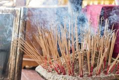Incense stick. Burning and Incense burner Stock Image