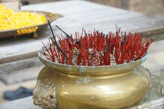 Incense stick pot, belief for worship royalty free stock photo