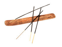 Incense stick in wooden holder Royalty Free Stock Photo