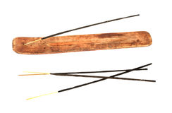 Incense stick in wooden holder Stock Photography