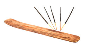 Incense stick with wooden holder Stock Photography