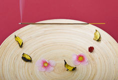 Incense stick on wooden plate Royalty Free Stock Photography