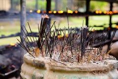 Incense sticks. Burning incense sticks in a buddhist temple in Sri Lanka Royalty Free Stock Photo