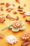 Incense sticks. On the orange table with dried flowers Stock Photos