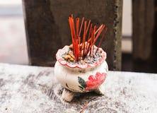 Incense sticks. Aromatherapy. Pot with the Incense sticks Stock Photos