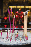 Incense sticks with ash in the temple Stock Photo