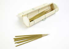 Incense sticks and bamboo. Terapie detail in a spa, relaxation and aromatherapy Royalty Free Stock Photo