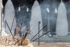 Incense sticks in a Buddhist temple Royalty Free Stock Images
