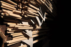 Incense sticks. Bunch of yellow incense sticks Royalty Free Stock Image