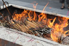 Incense sticks burning Royalty Free Stock Photos