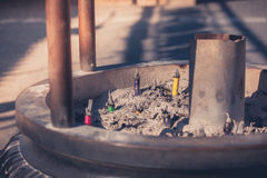 Incense sticks burning outside temple Royalty Free Stock Photography