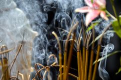 Incense sticks in temple in Vietnam royalty free stock images