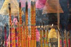 Incense sticks. Burning incense sticks in temples Stock Images