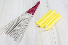 Incense sticks and candle on wooden background.  Stock Photography
