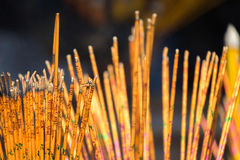 Incense sticks. Closeup incense sticks in Che Kung Temple, Hong Kong Stock Photography