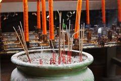 Incense sticks at incense pot.  Royalty Free Stock Photography