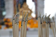 Incense sticks are lighten and incense smoke for worship Ganesha, out focus. The Lord of success, the son of Uma Devi god in Hinduism and Brahmanism stock photography