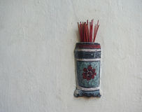 Incense sticks in the pot at old temple in Malacca City, Malaysia Stock Photography