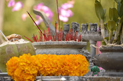 Incense sticks in the stone bowl Royalty Free Stock Image