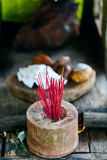 Incense sticks in temple Stock Image