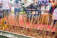 Incense to worship. An incense that people worship a Buddha in the bucket Royalty Free Stock Image
