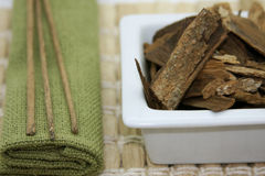 Incense, towel and other objects. To make mood relaxing stock images