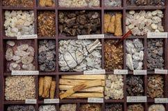 Incense. Various kinds of popular incense : myrrh, frankincense, messer, copaiba, salvia apiana, borena, gowe - thiouraye, palo santo royalty free stock photos