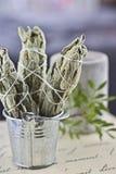 Incense of white salvia. White salvia incense. Salvia ritual concept. White sage, scared sage, california sage, bee sage Stock Photography