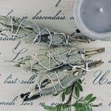 Incense of white salvia. White salvia incense. Salvia ritual concept. White sage, scared sage, california sage, bee sage Stock Photos