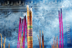 Incenses. Incense burning in Chinese Buddhist Temple Stock Photo