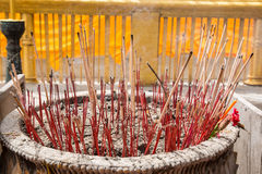 Incenses in a buddhist temple Stock Photo