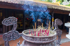 Incensory at tran quoc pagoda royalty free stock image