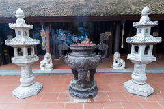 Incensory at tran quoc pagoda stock photography