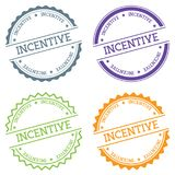 Incentive badge isolated on white background. Flat style round label with text. Circular emblem vector illustration Stock Photo