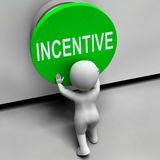 Incentive Button Means Bonus Reward And Motivation Stock Image