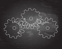 Incentive Gear Wheels Blackboard. Incentive, motivation and goal gear wheels on blackboard background Stock Photo