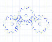 Incentive Gear Wheels Graph Paper. Incentive, motivation and goal gear wheels on graph paper background Stock Photography