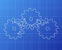 Incentive Gear Wheels. Incentive, motivation and goal gear wheels on blueprint background Stock Photos