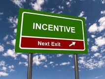 Incentive Next Exit Sign. An incentive next exit sign surrounded by blue sky with fluffy clouds stock image