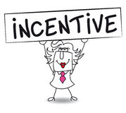 Incentive with Penelope. Penelope holds a placard on which there wrote INCENTIVE. Concept of a thing that motivates or encourages one to do something Stock Image