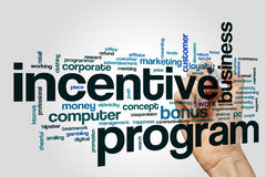 Incentive program word cloud. Concept on grey background royalty free stock photo